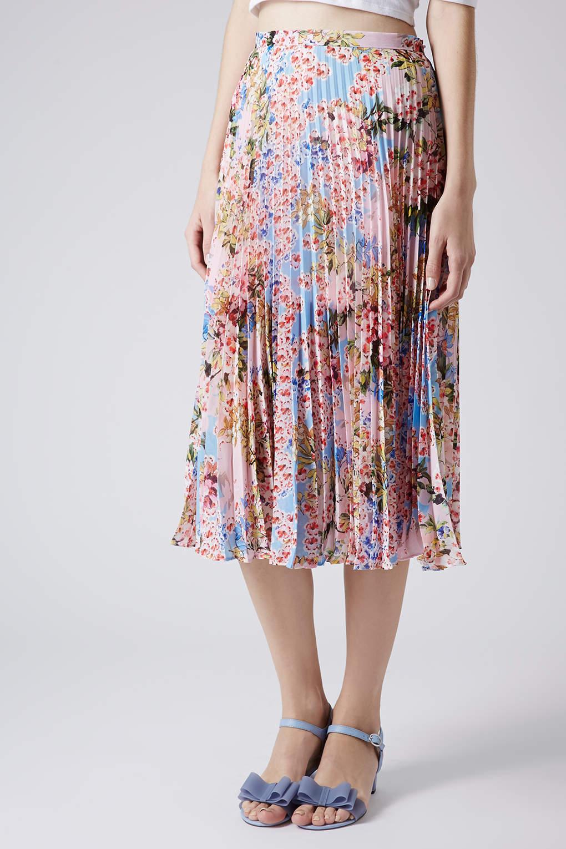 Topshop Floral Pleat Midi Skirt | Lyst