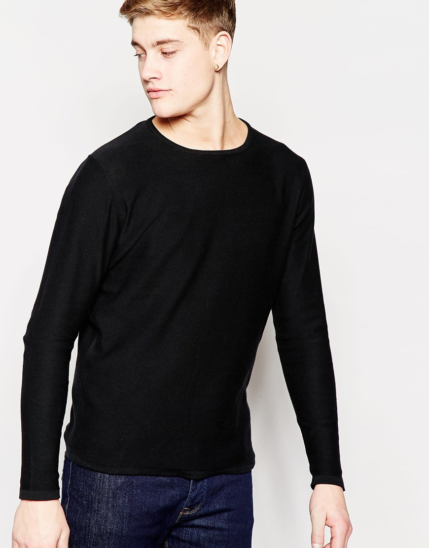 jack jones premium knitted crew neck sweater in black. Black Bedroom Furniture Sets. Home Design Ideas