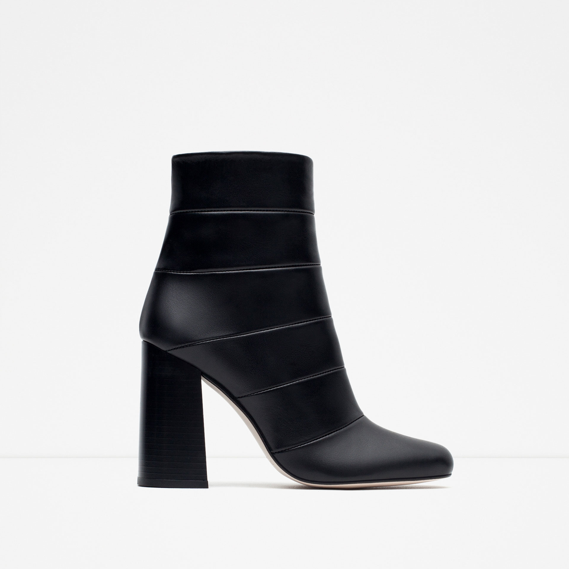 zara high heel combined leather ankle boots in black lyst