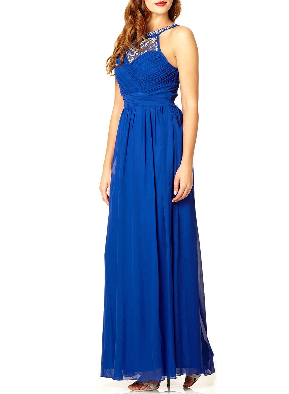 Quiz Chiffon Royal Blue Sequin Pleat Maxi Dress
