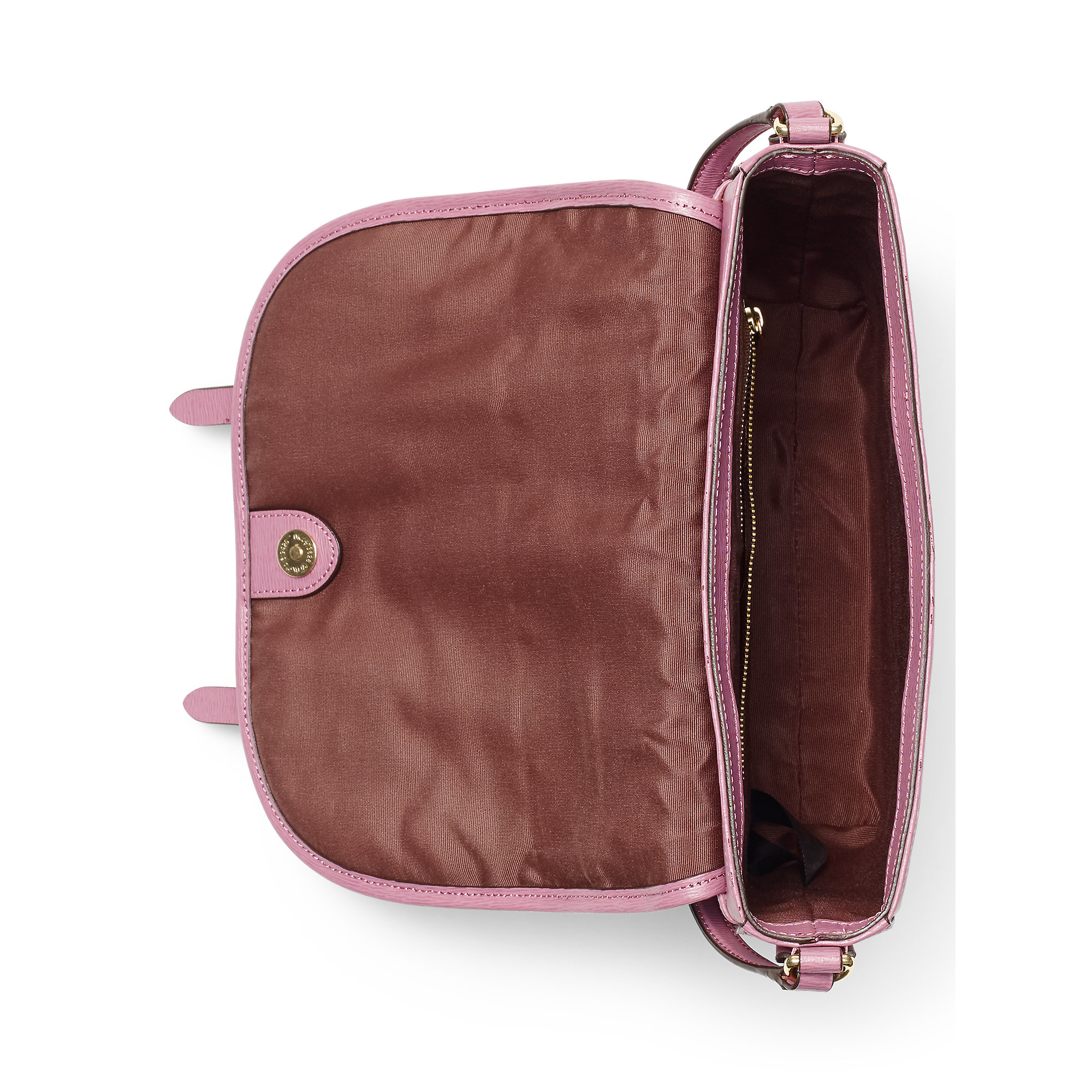 Lyst - Ralph Lauren Tate Leather Messenger Bag in Pink 51ae4f0062