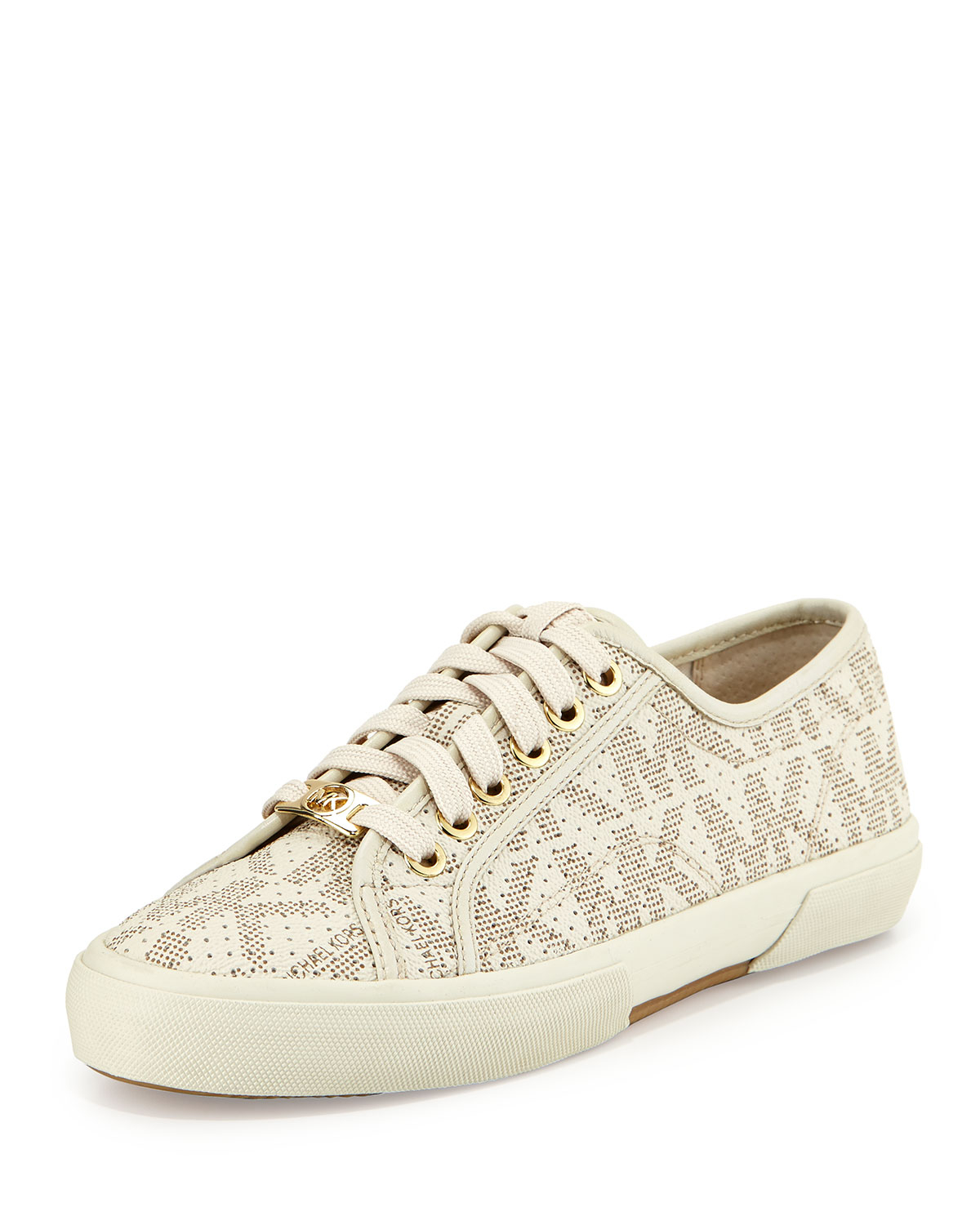 michael michael kors boerum lace up low top sneakers in white lyst. Black Bedroom Furniture Sets. Home Design Ideas