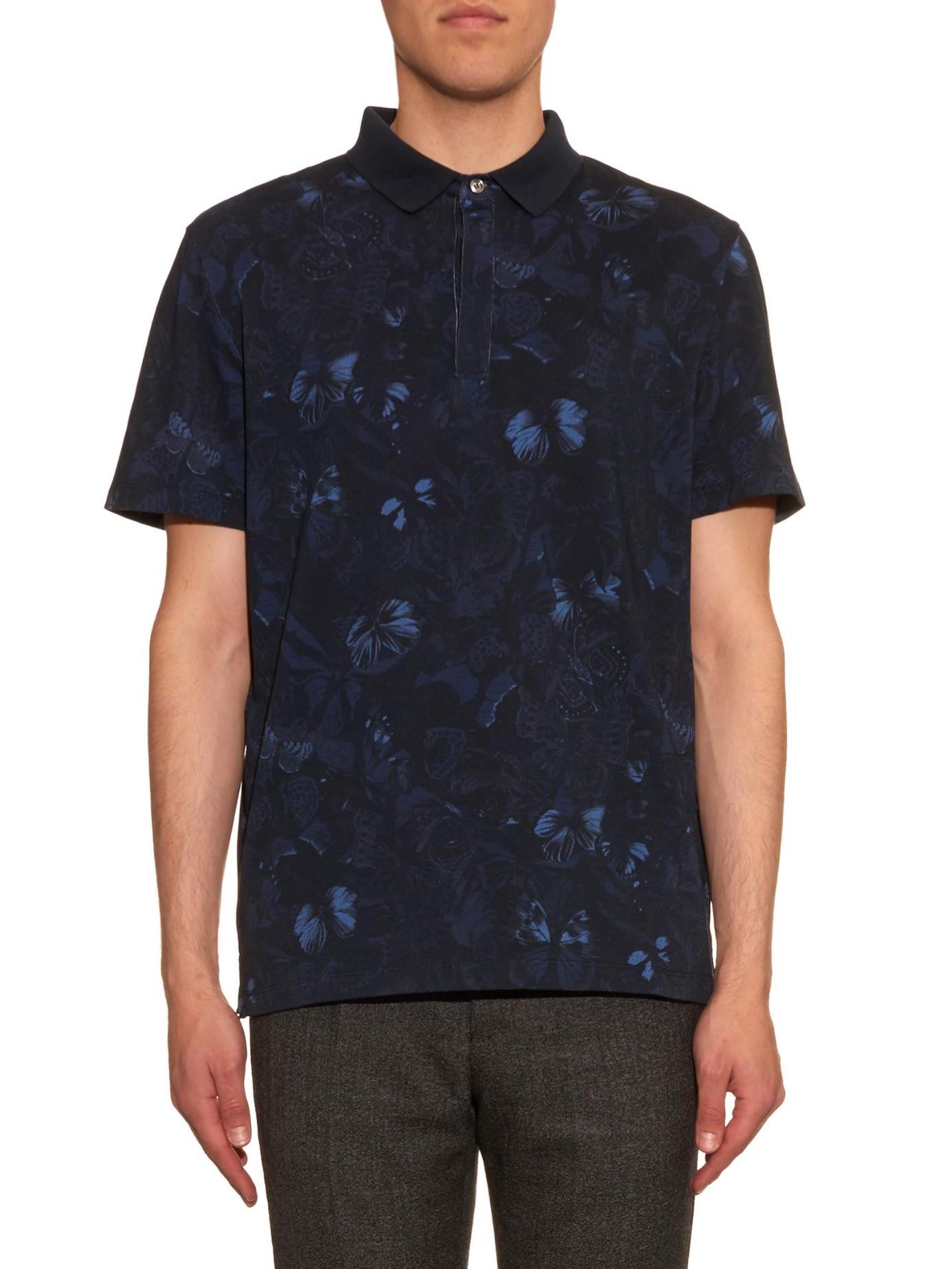 Valentino camo butterfly polo shirt for men lyst for Camo polo shirts for men