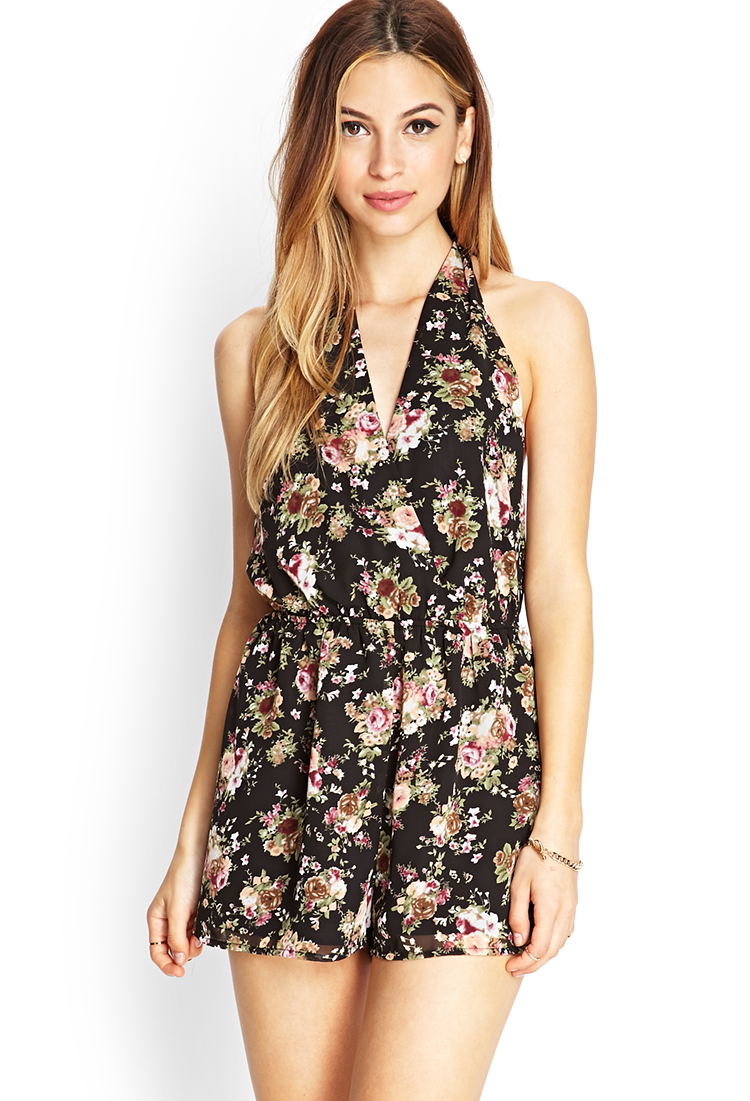 fa011b024896 Forever 21 Floral Surplice Romper In Pink
