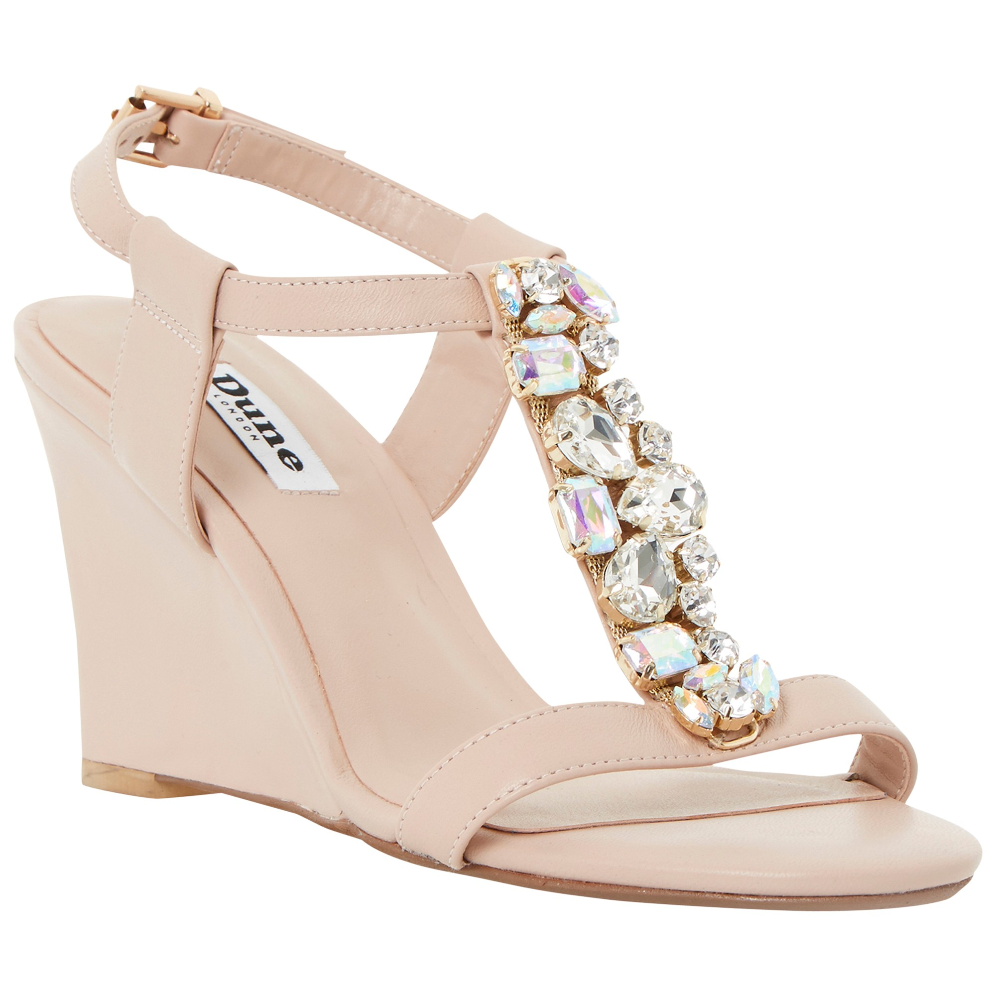 a7a50497882f Dune Marzia Leather Jewelled Wedges in Pink - Lyst