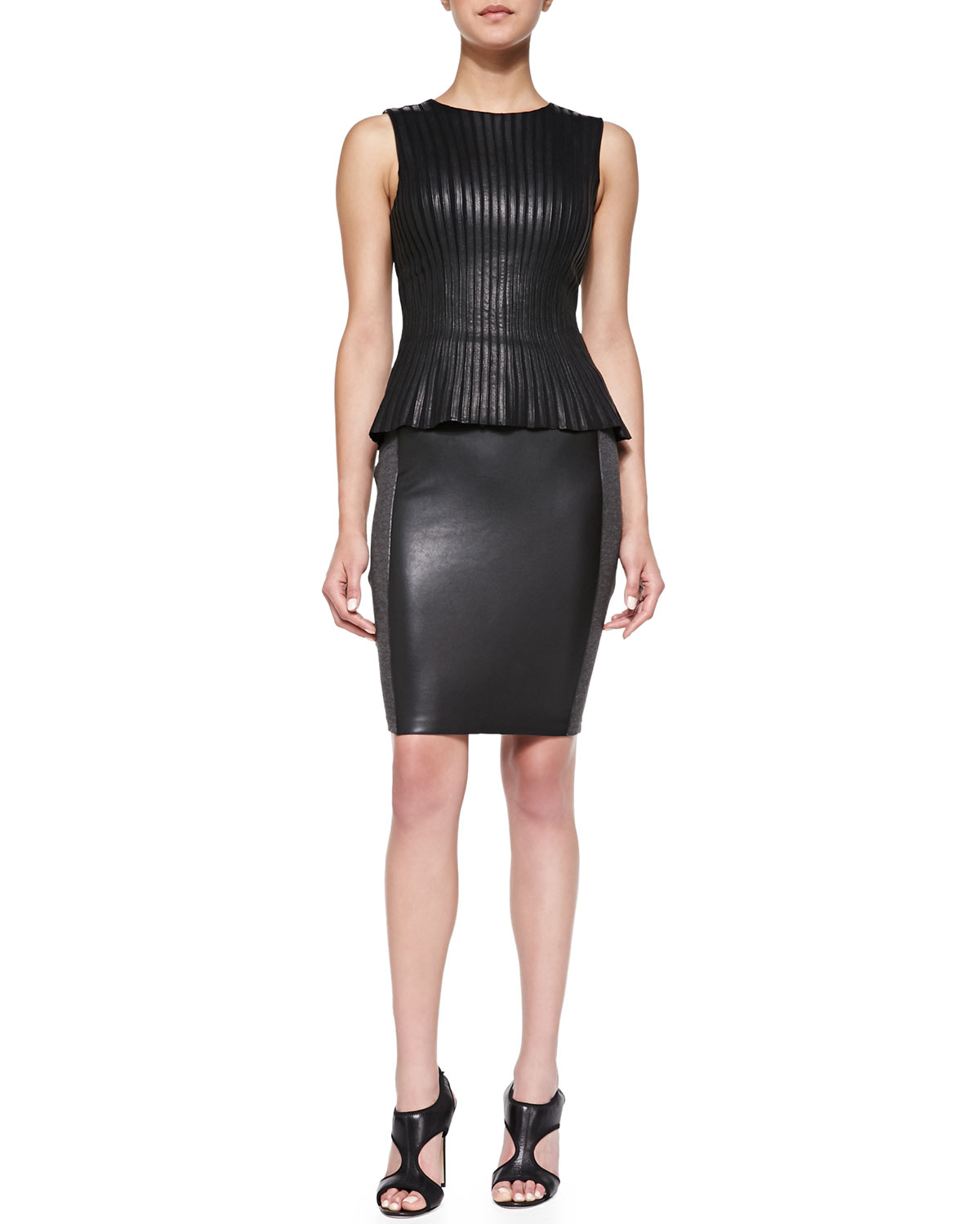 bailey 44 ski patrol knit faux leather skirt in black