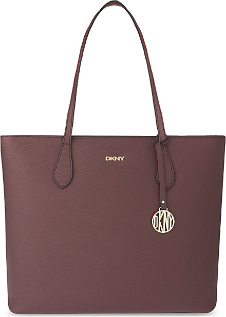 dkny bryant park saffiano leather shopper for women in brown beet black lyst. Black Bedroom Furniture Sets. Home Design Ideas
