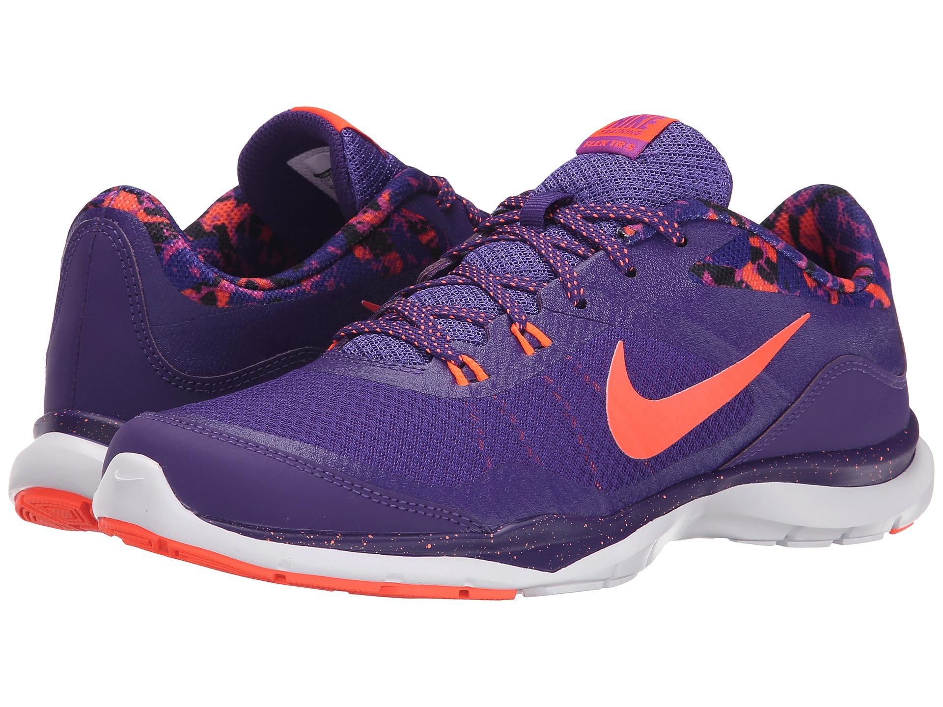 Women Shoes - Nike Flex 5 Print Training Shoes Purple/Orange