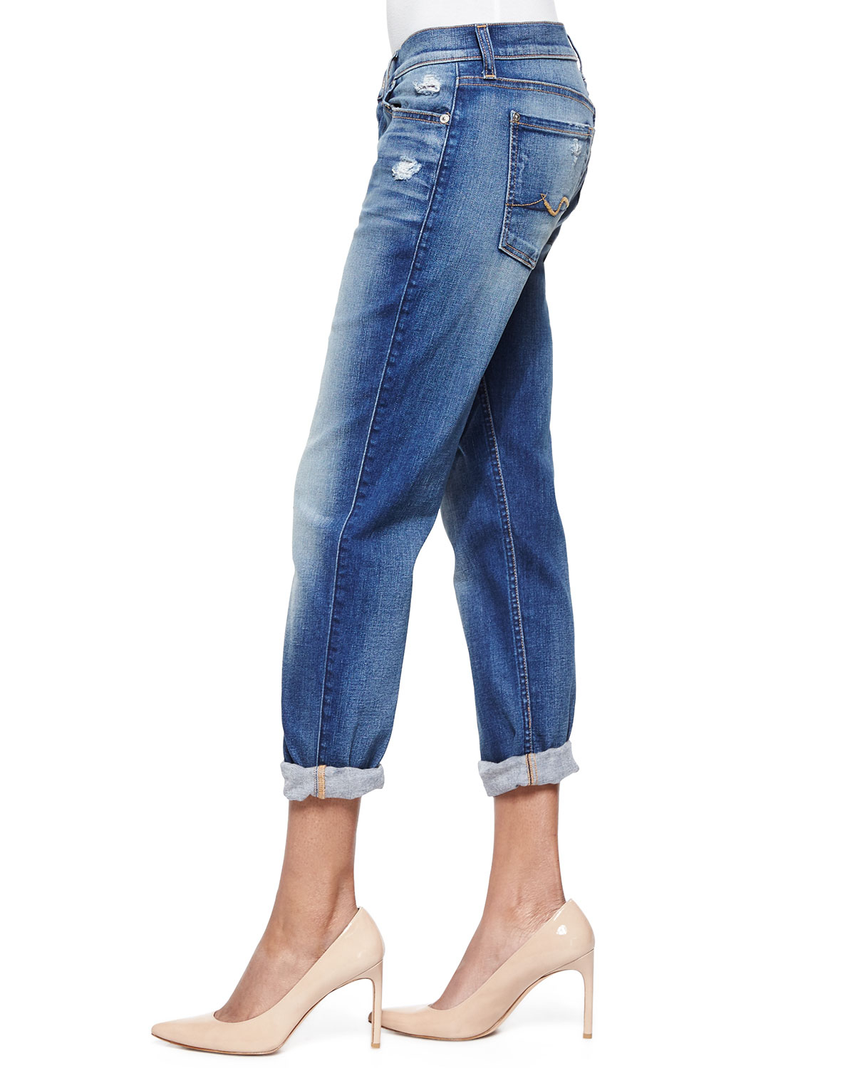 7 for all mankind josefina cropped jeans in blue lyst. Black Bedroom Furniture Sets. Home Design Ideas
