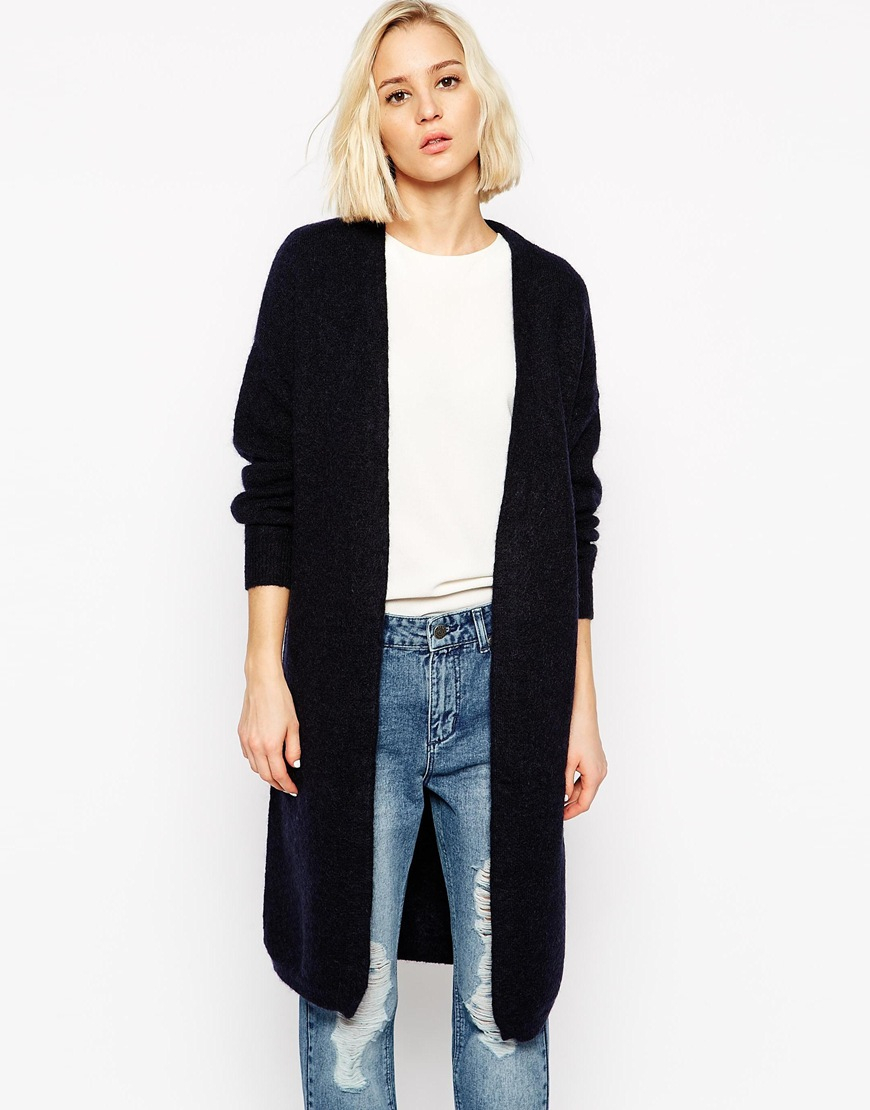 Selected Longline Cardigan In Mohair Mix in Blue | Lyst