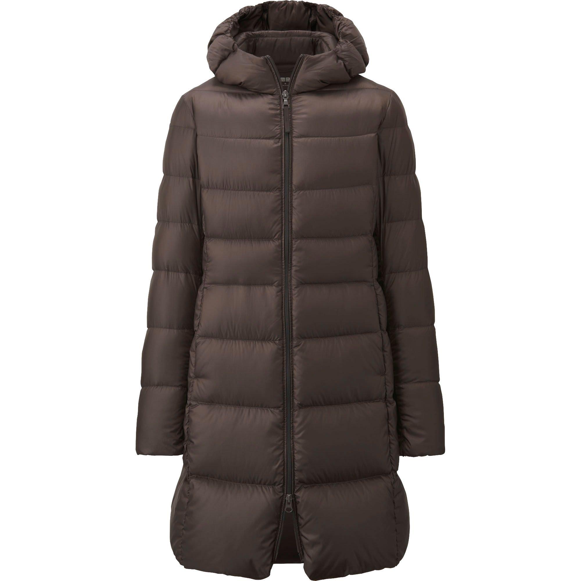 Uniqlo Ultra Light Down Hooded Coat In Brown Dark Brown