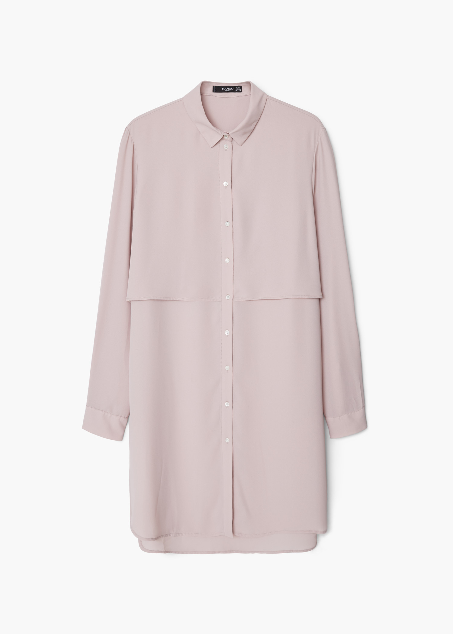 Mango Flowy Long Shirt in Pink | Lyst