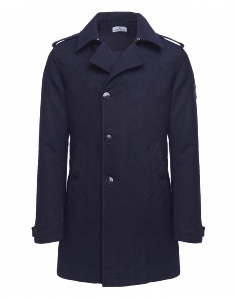 Stone island Double Breasted Wool Coat in Blue for Men - Lyst