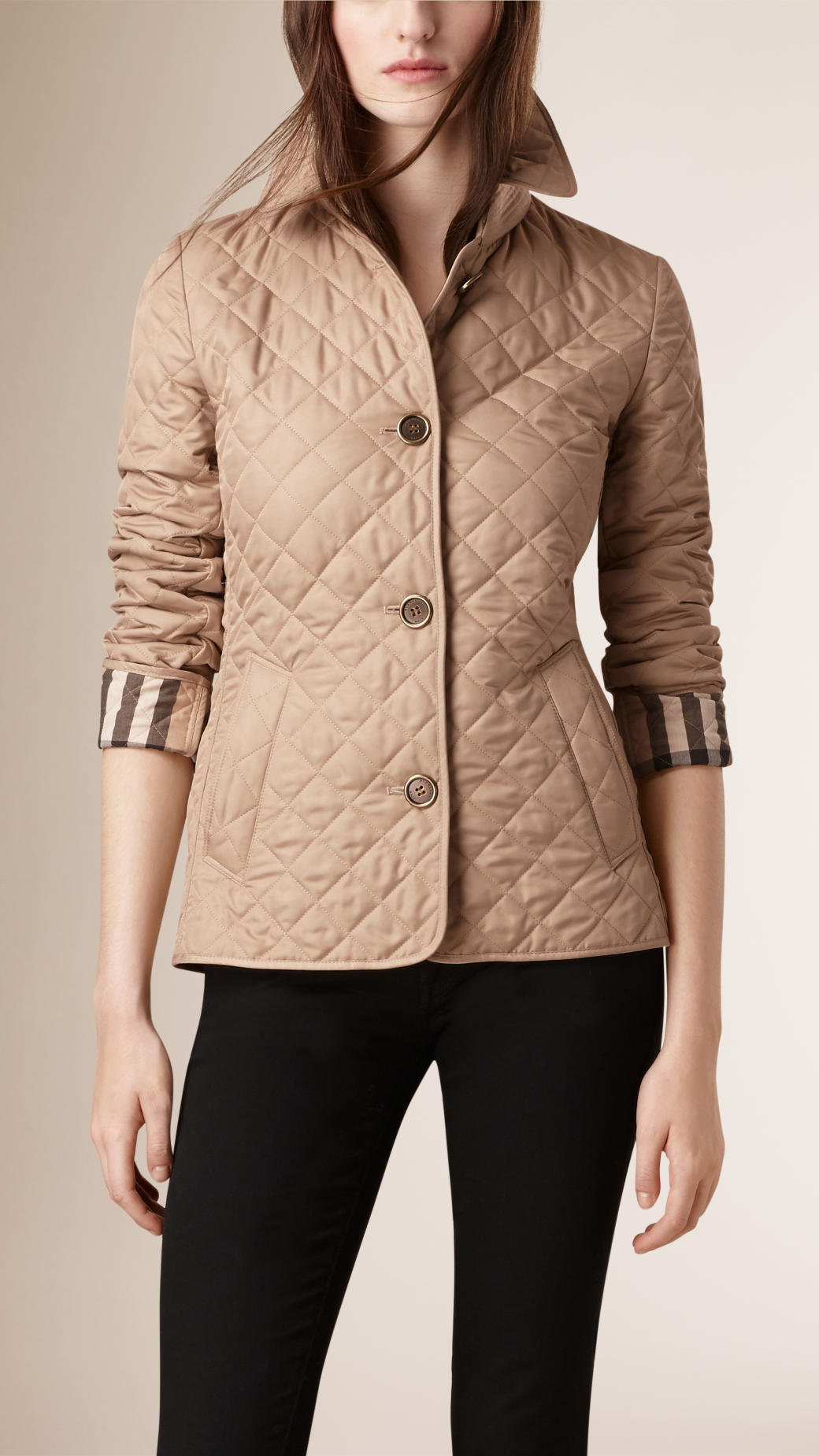 Burberry Diamond Quilted Jacket in Natural | Lyst : diamond quilted jacket burberry - Adamdwight.com