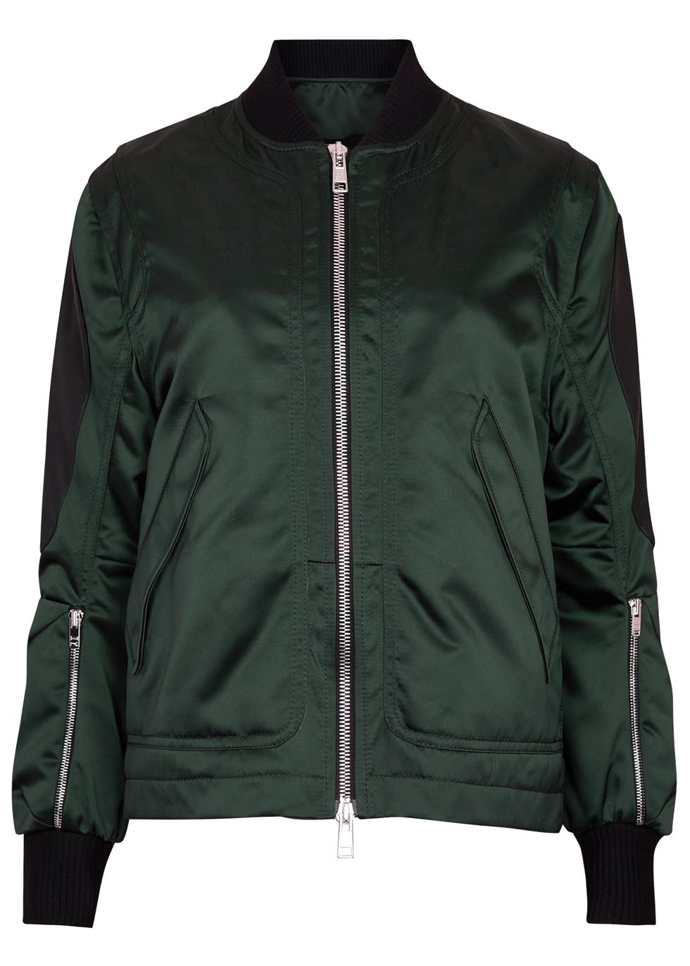 Tim coppens Dark Green Leather-trimmed Shell Bomber Jacket in ...