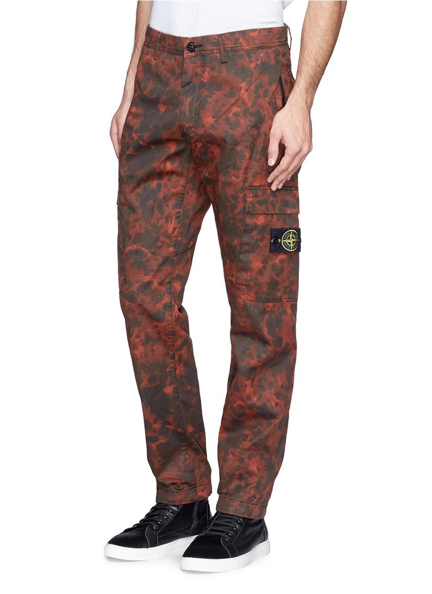 Stone Island Red Tortoiseshell Print Cargo Pants Product Normal on Cargo Pants Camo