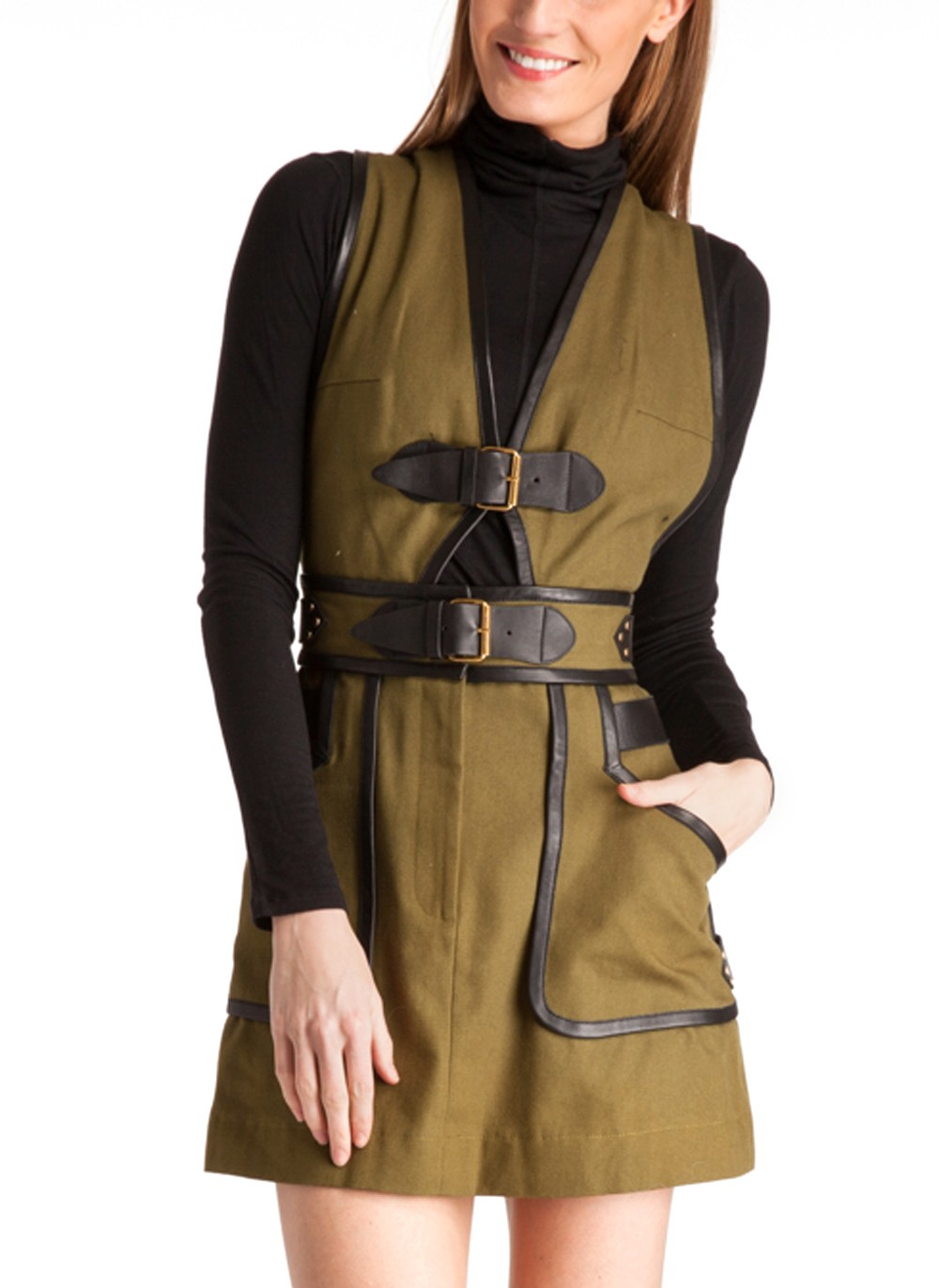 10 Crosby Derek Lam Apron Dress With Buckle Detail In