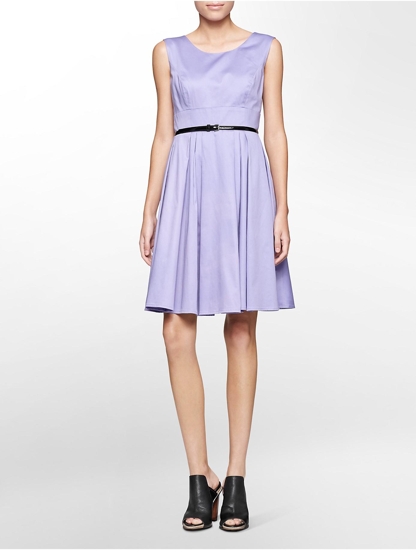 Calvin Klein Ultra Suede Sleeveless Sheath Dress In Purple