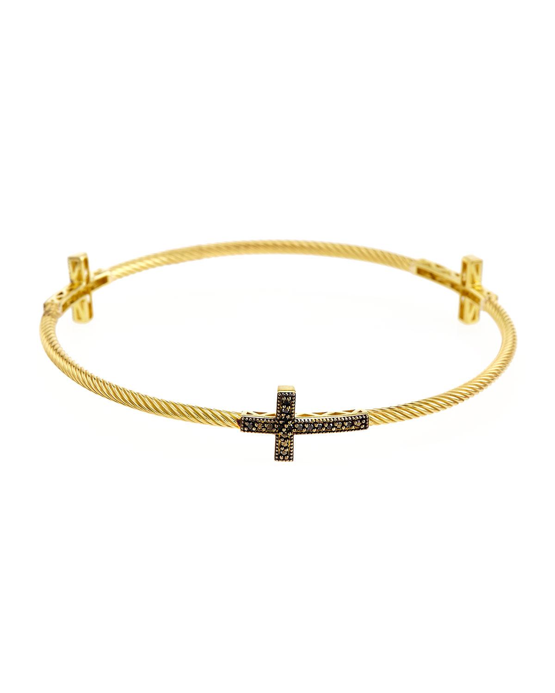 Jude Frances Pave Diamond Fleur Cross Stretchy Bangle Bracelet qfTQl
