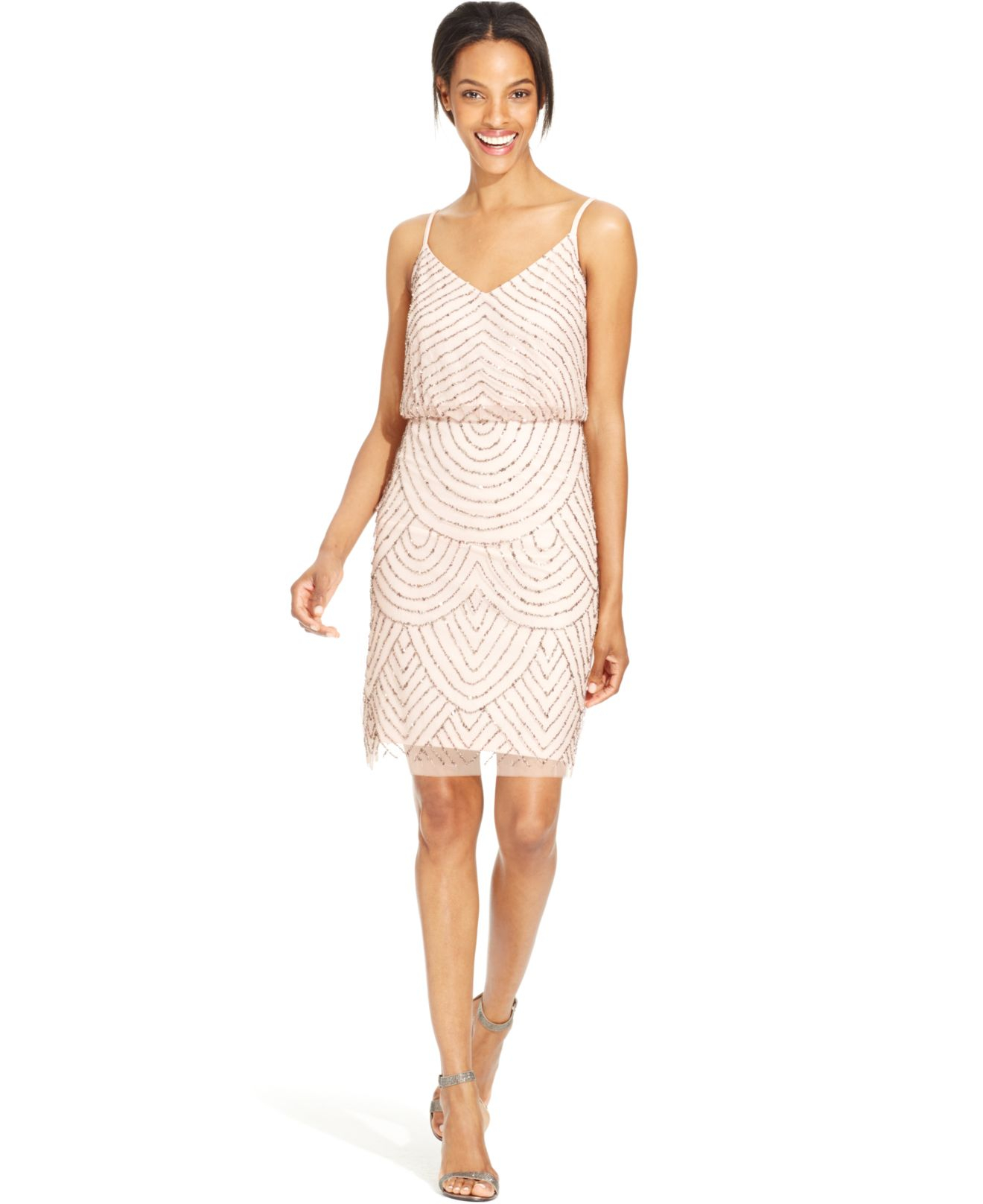 49dad12d79 Lyst - Adrianna Papell Beaded Blouson Dress in Pink