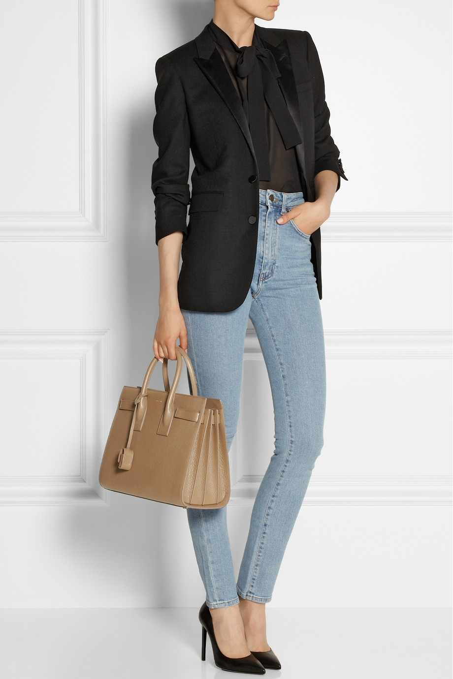 e89ca86275 Saint Laurent Sac De Jour Small Leather Tote in Brown - Lyst