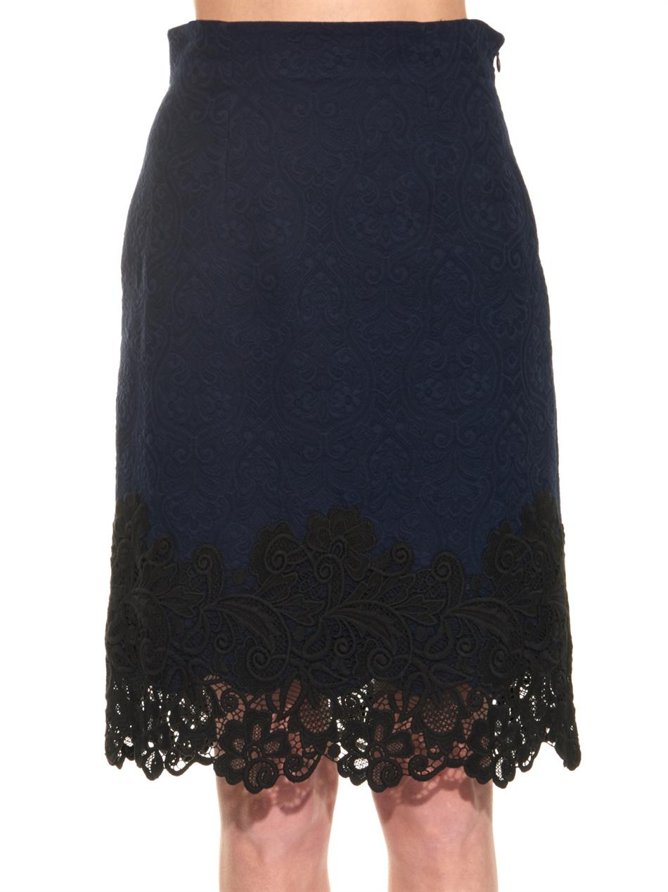 matelass 233 and lace pencil skirt in blue lyst
