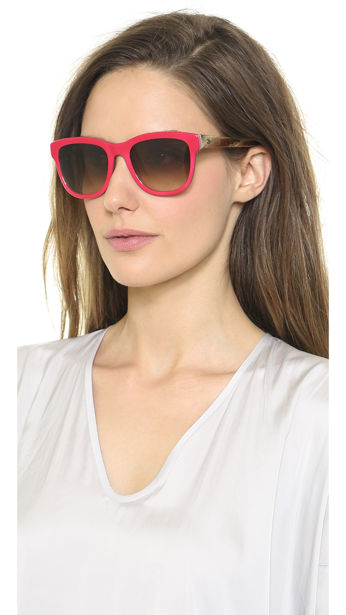 Lanvin Thick Frame Sunglasses - Shiny Red/Brown
