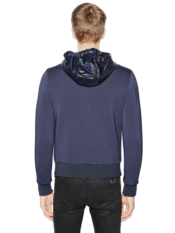 3 MONCLER GRENOBLE Stretch Fleece & Nylon Down Jacket in Navy (Blue) for Men