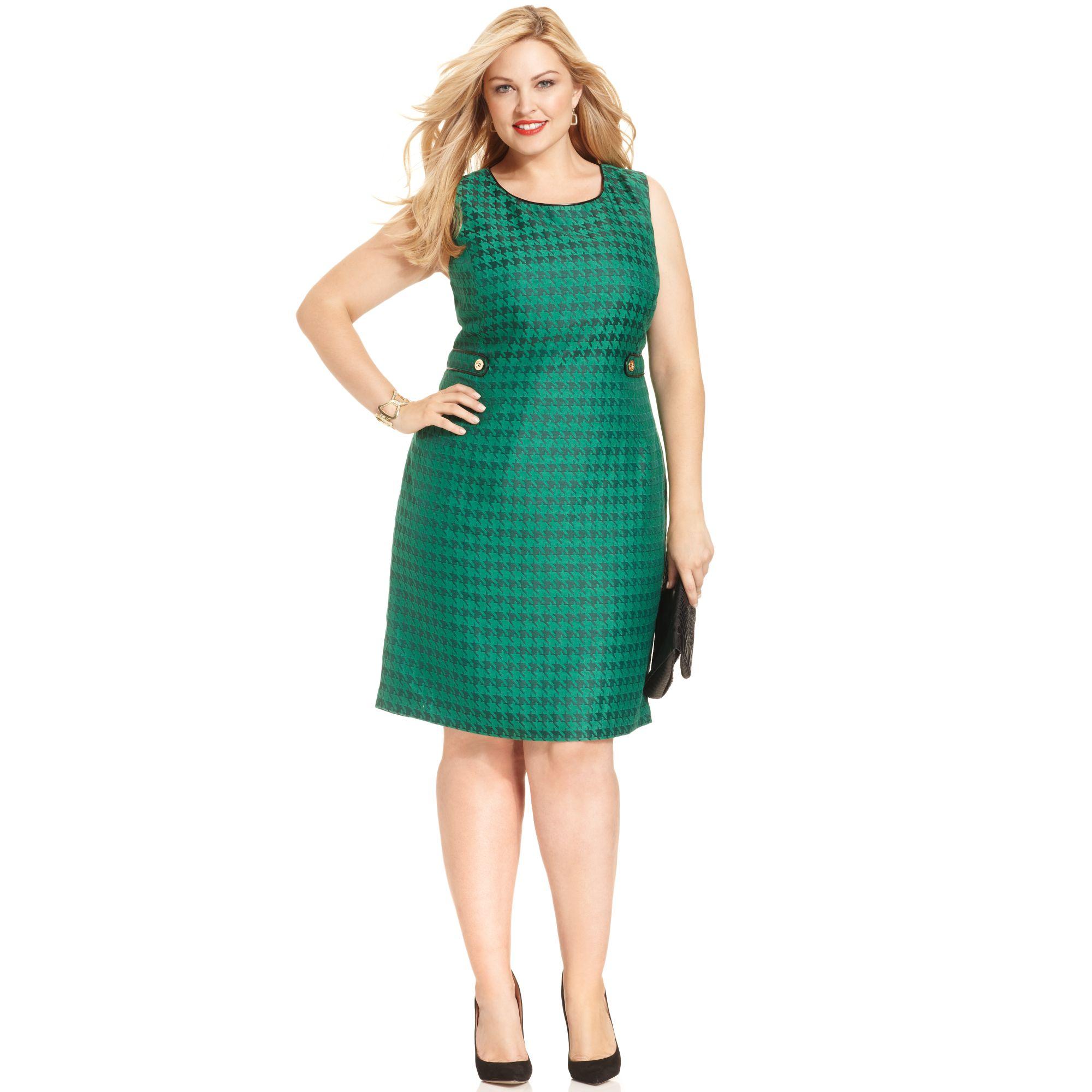 Jones New York Sleeveless Houndstooth-print Shift Dress in Green - Lyst