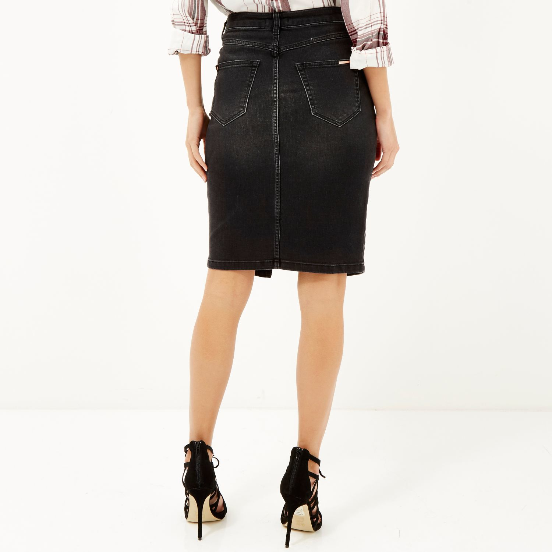 river island washed black denim pencil skirt in black lyst