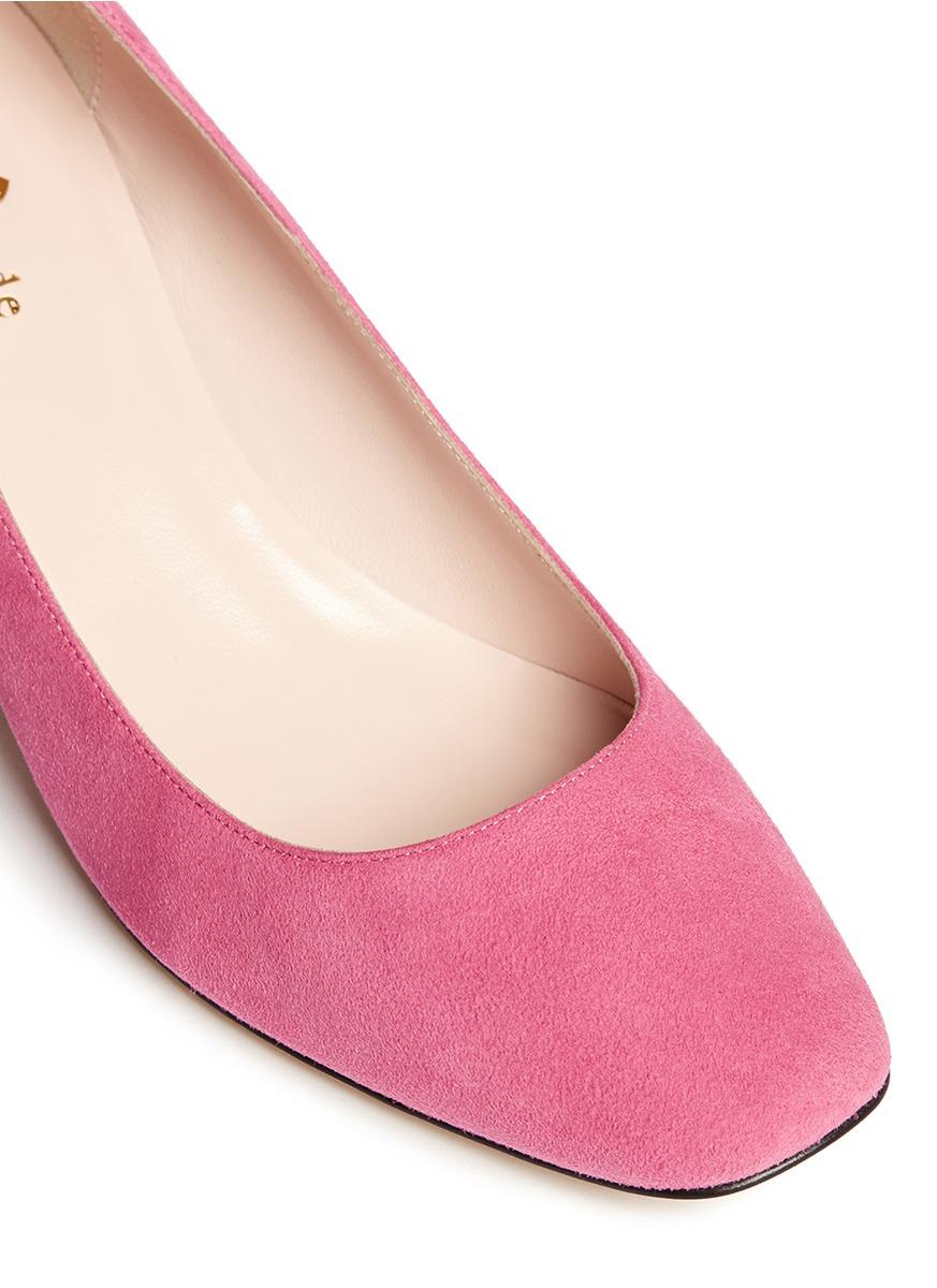 3ec446c1add Lyst - Kate Spade  danika Too  Jewel Heel Suede Pumps in Pink