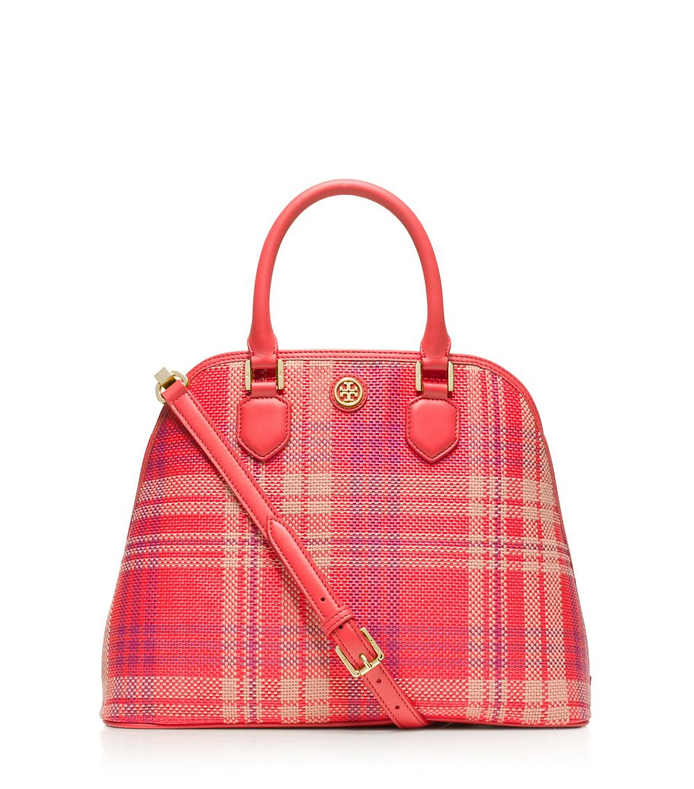 3b59257b9703 Lyst - Tory Burch Robinson Plaid Open Dome Satchel in Red