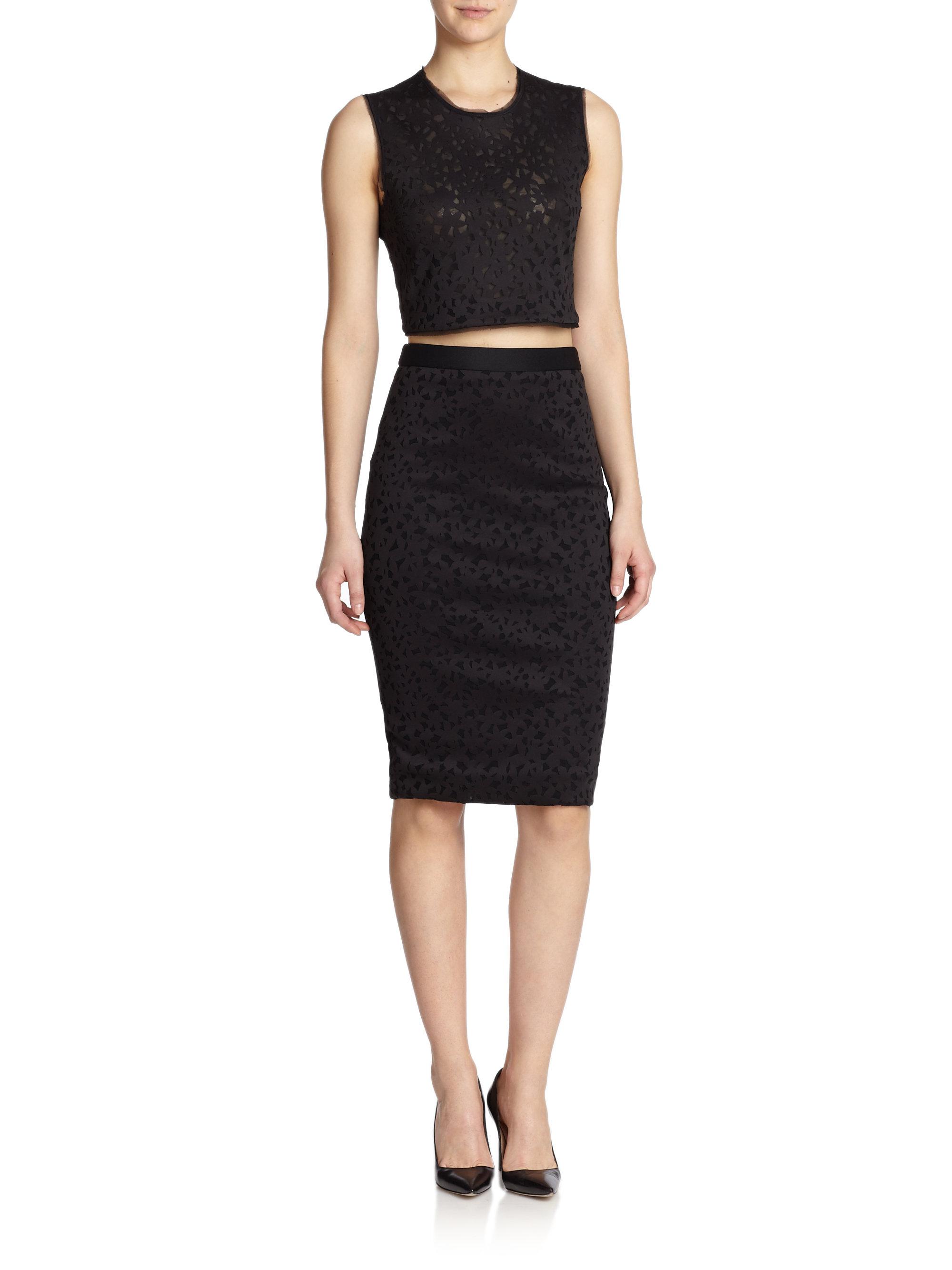 elizabeth and floral laser cut pencil skirt in black