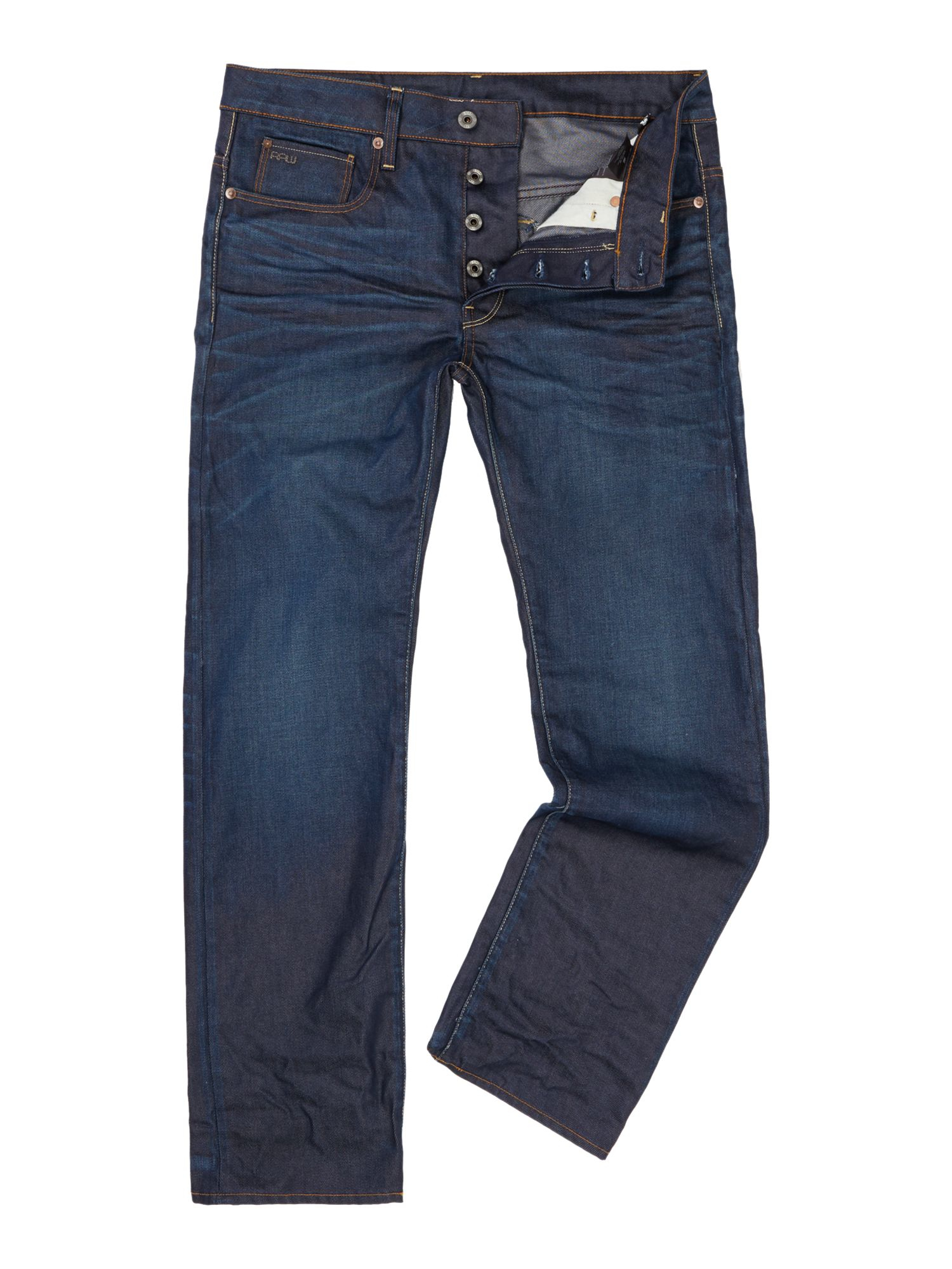 g star raw 3301 straight dark aged hydrite jeans in blue. Black Bedroom Furniture Sets. Home Design Ideas
