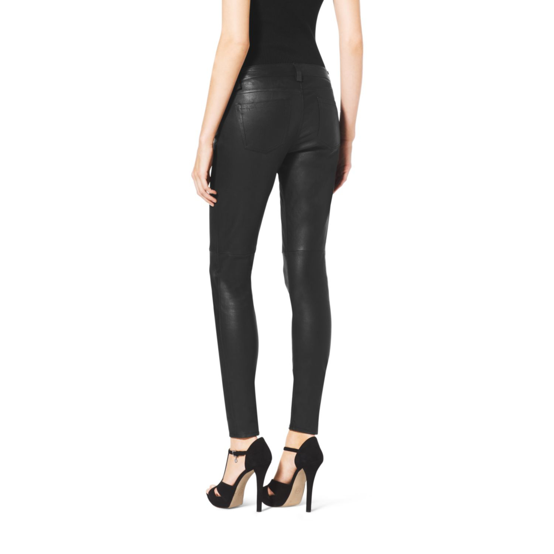 7c00fbe5c171 Lyst - Michael Kors Skinny Leather Pants in Black