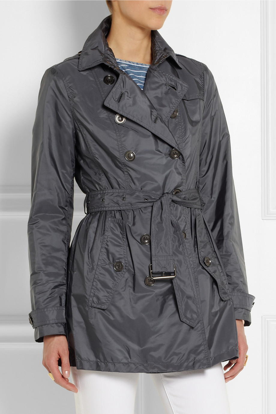 lyst burberry brit shell trench coat in blue. Black Bedroom Furniture Sets. Home Design Ideas