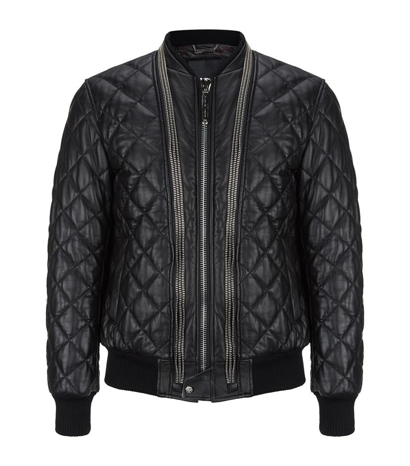 philipp plein lucky day leather bomber jacket in black for men lyst. Black Bedroom Furniture Sets. Home Design Ideas