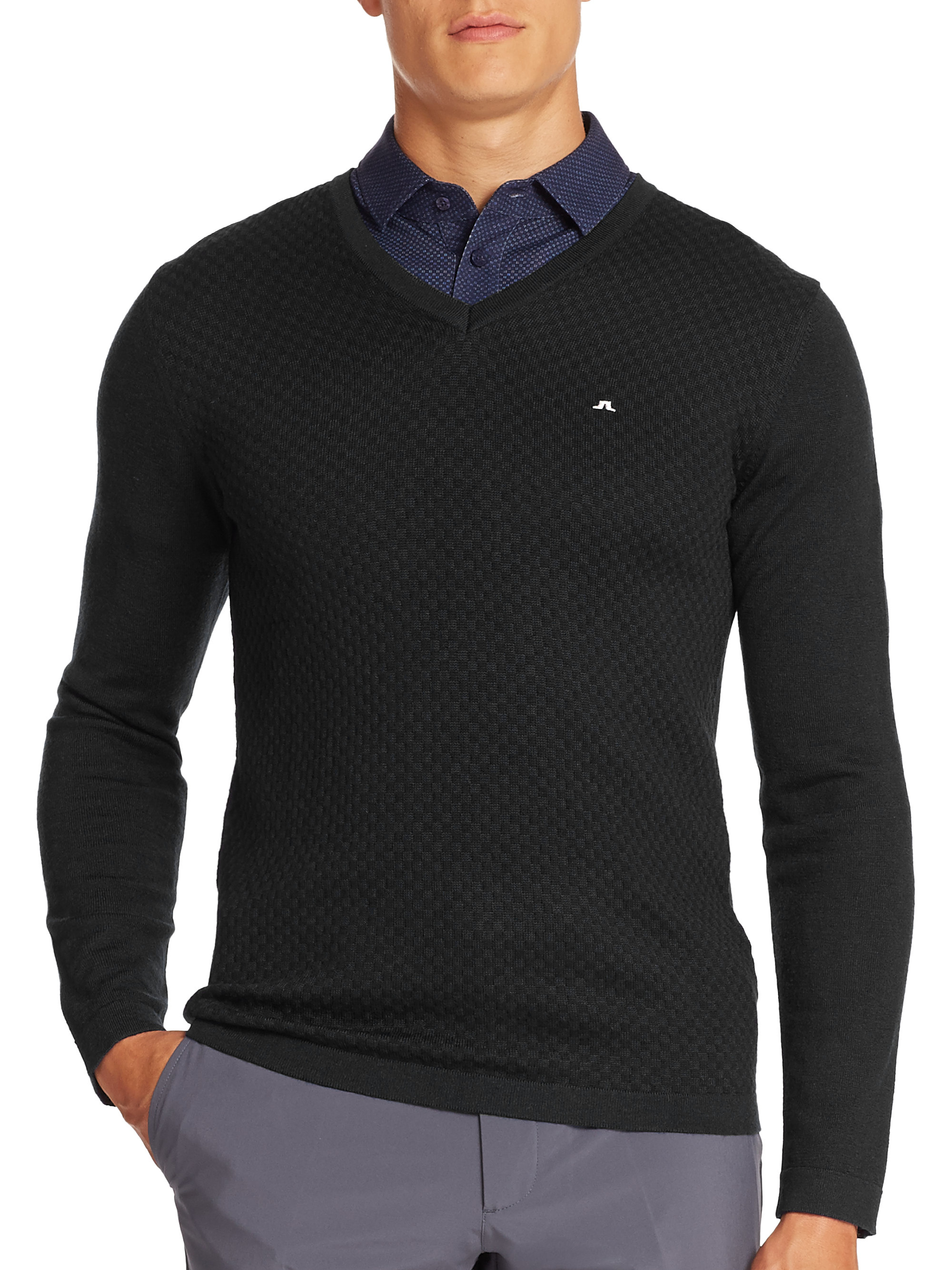 J.lindeberg Louis V-neck Pullover Sweater in Black for Men | Lyst