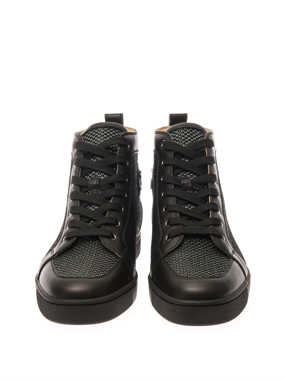 best loved b0b9c d25ef Christian Louboutin Black Rantus Leather Hightop Trainers for men