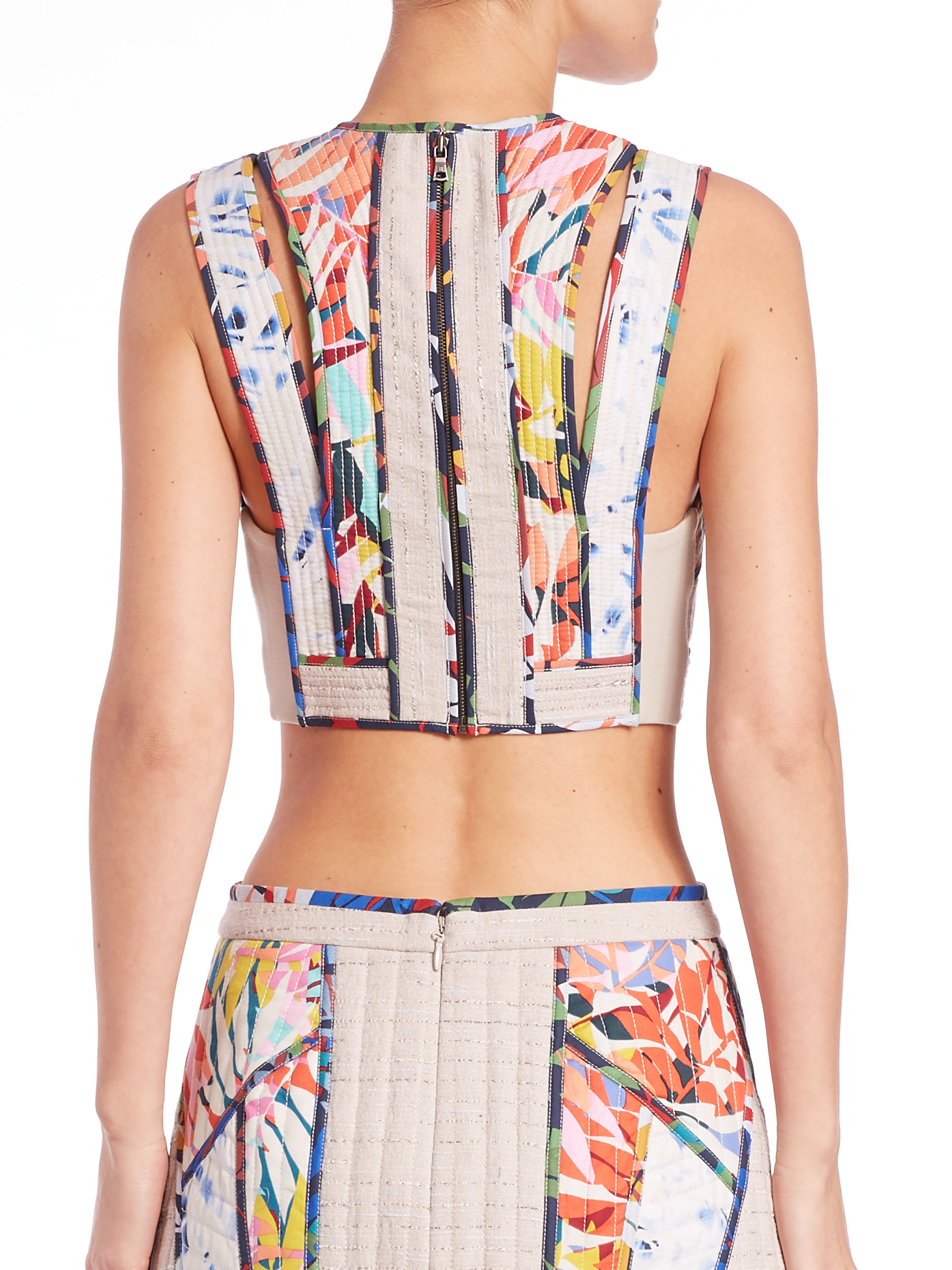 0370bd55b8c99c Lyst - BCBGMAXAZRIA Alisa Quilted Cropped Top in White