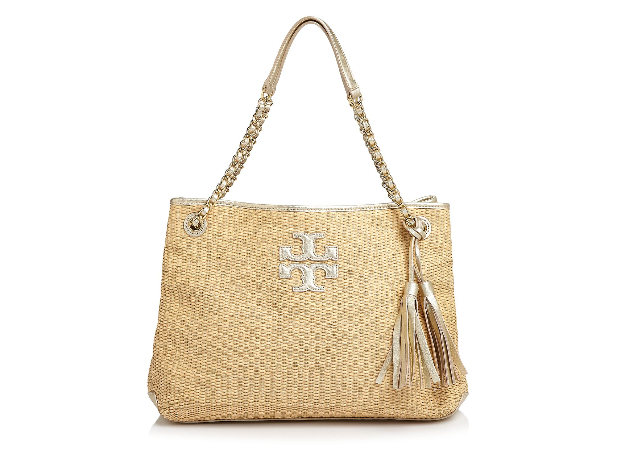 aa0b8471c000 Lyst - Tory Burch Thea Metallic Straw Chain Shoulder Bag in Natural