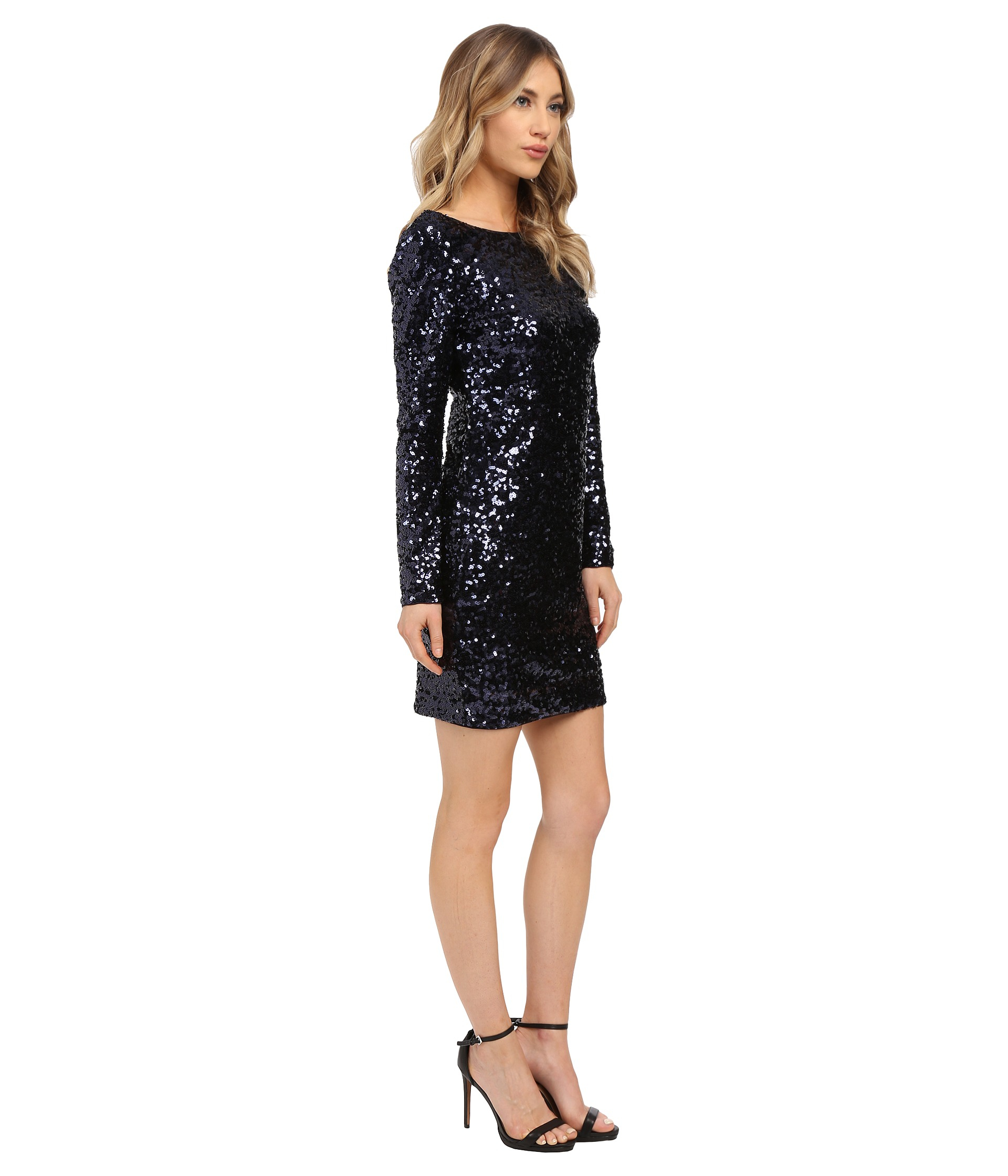 Jessica simpson Long Sleeve Sequin Dress in Blue - Lyst