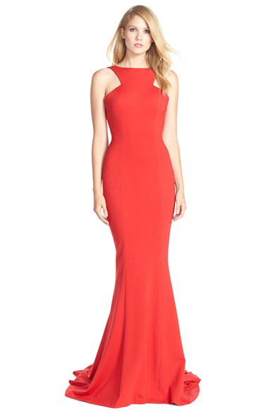 Lyst - Jovani Ruffle Jersey Mermaid Gown in Red