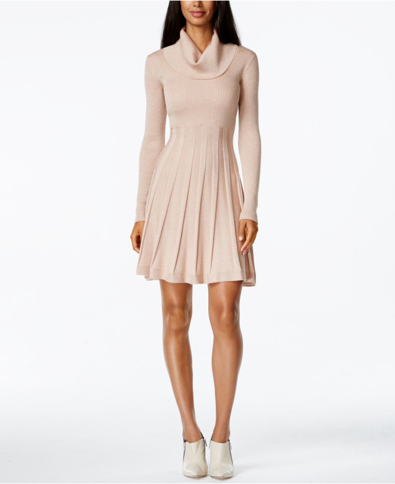 Lyst Calvin Klein Cowl Neck Fit Amp Flare Sweater Dress In