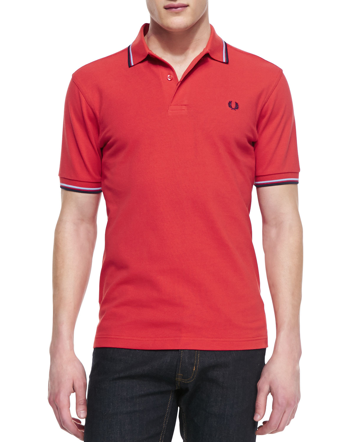 fred perry tipped polo shirt vintage rednavywhite in red for men vintage re lyst. Black Bedroom Furniture Sets. Home Design Ideas