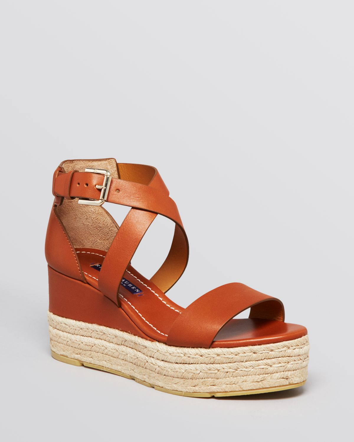ralph lauren collection platform espadrille wedge sandals esabel in brown lyst. Black Bedroom Furniture Sets. Home Design Ideas