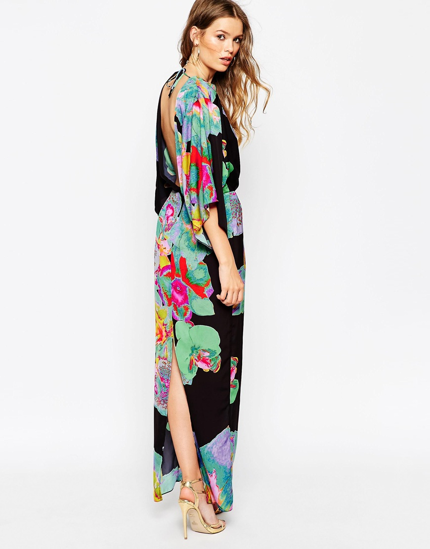 Silk-chiffon kimono maxi dress