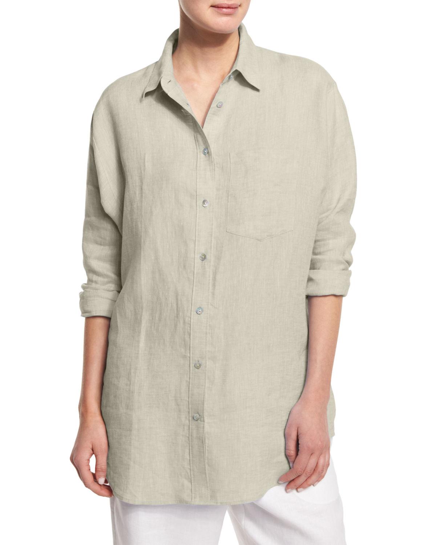 Go By Go Silk Cross Dye Linen Shirt In Natural Lyst