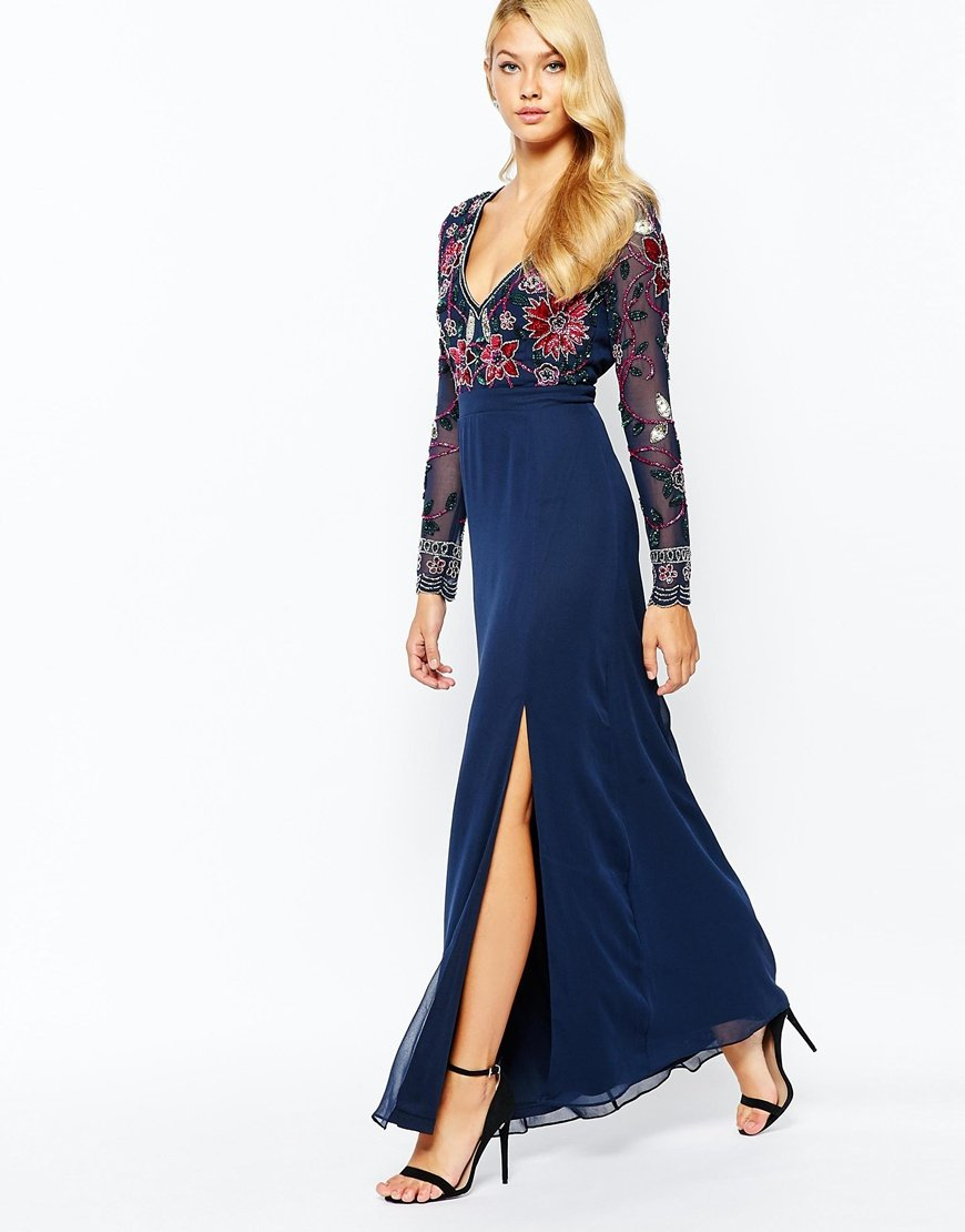 frock and frill floral embellished thigh split maxi dress with plunge neck and back in blue lyst. Black Bedroom Furniture Sets. Home Design Ideas