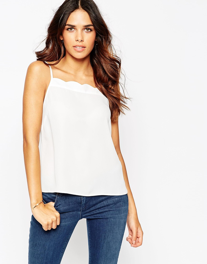 Asos Cami Top With Scallop Neckline in White (Ivory) | Lyst